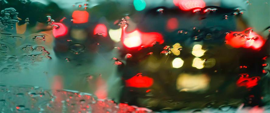 Car windshield in the rain
