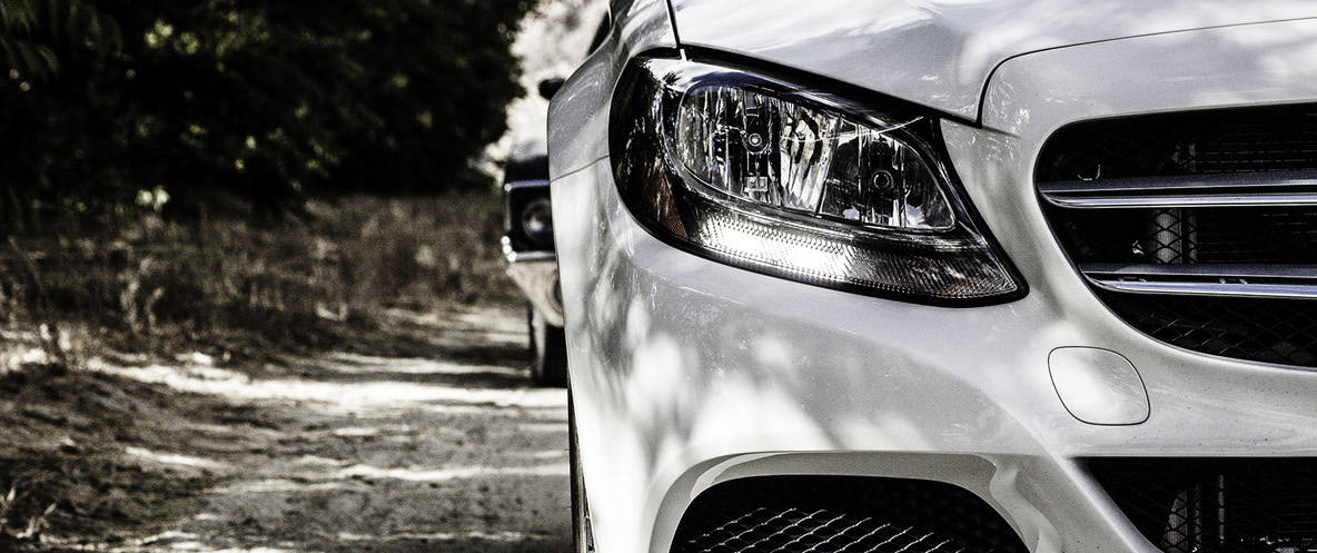 Front headlight and grill of a car