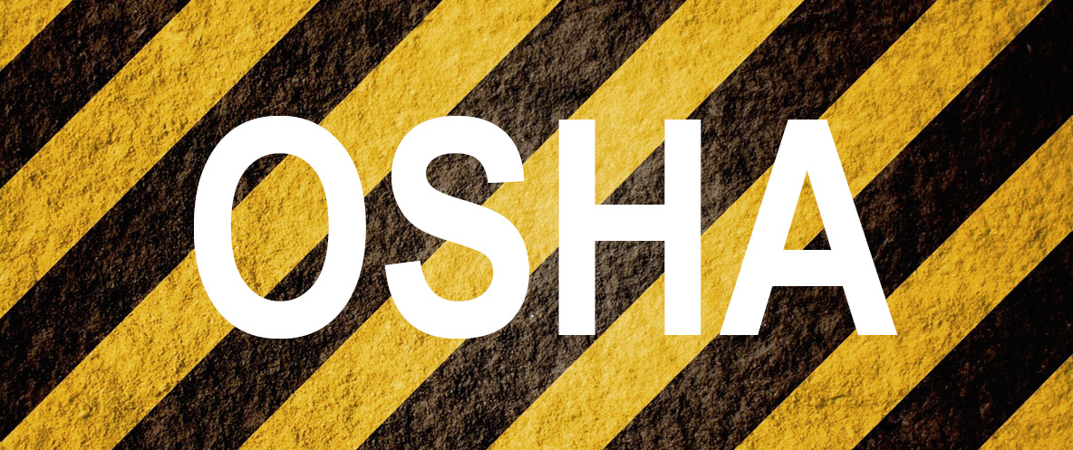 OSHA text superimposed above yellow and black diagonal lines