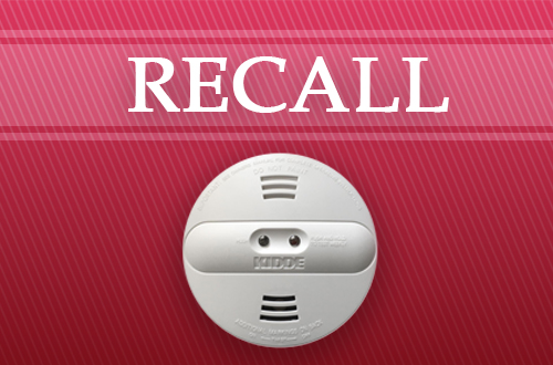 Smoke detector with the word Recall above it