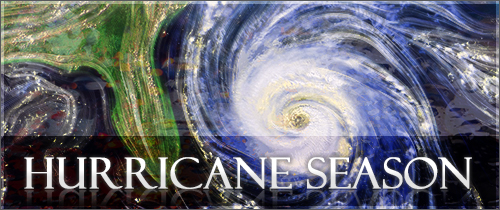 Satellite image of a hurricane with the words Hurricane Season