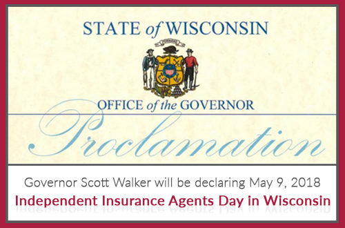 State of Wisconsin seal from Office of the Governor Proclamation declaring May 9 Independent Insurance Agents day in Wisconsin