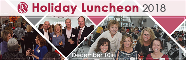 Banner showing images of team members with the words Holiday Luncheon