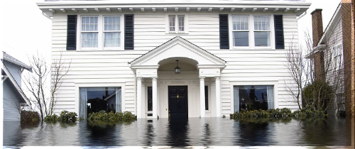 House partially submerged in water from the front