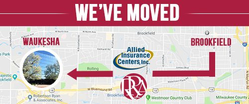 We've Moved map with and arrow pointing from Brookfield to Waukesha