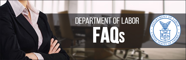 Woman in a suit with her arms crossed with the words Department of Labor FAQs overlaid on top