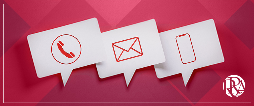 Pop-up icons of an envelope, telephone, and smart phone