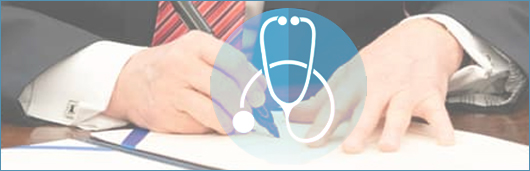 Stethoscope superimposed over an image of a man in a suite at a desk writing