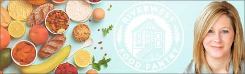 Graphic of multiple foodstuffs next to the Riverwest Food Pantry logo next to an image of Patti Blaschka
