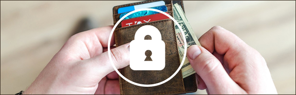 Hands pulling cash from a wallet with a graphic of a lock superimposed over it