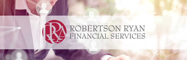 Robertson Ryan Financial Services logo superimposed over image of someone working at their desk