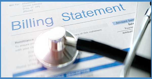 Billing statement with a stethoscope on top of it