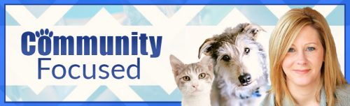 Cat and a dog with Patti and the words Community Focused
