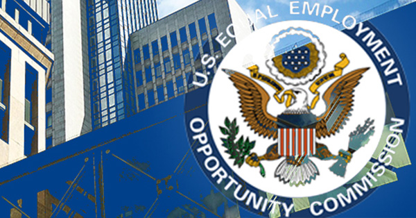 U.S Equal Employment Opportunity Commission seal superimposed on top of graphic of state buildings
