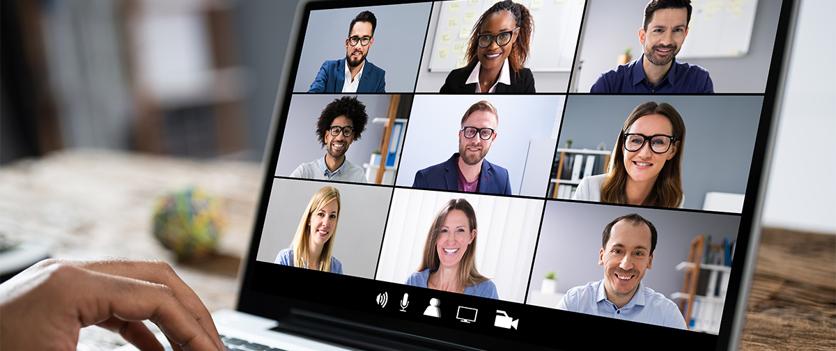 Computer Screen with Virtual Meeting